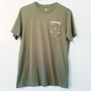 CONVERSE | army green pocket t-shirt S